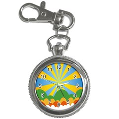 Sunlight Clouds Blue Yellow Green Orange White Sky Key Chain Watches by Alisyart