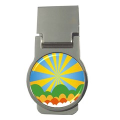 Sunlight Clouds Blue Yellow Green Orange White Sky Money Clips (round)