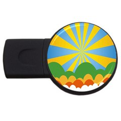 Sunlight Clouds Blue Yellow Green Orange White Sky Usb Flash Drive Round (2 Gb)