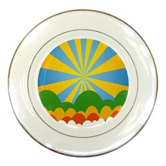 Sunlight Clouds Blue Yellow Green Orange White Sky Porcelain Plates by Alisyart