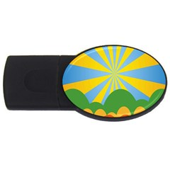 Sunlight Clouds Blue Yellow Green Orange White Sky Usb Flash Drive Oval (4 Gb)