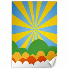 Sunlight Clouds Blue Yellow Green Orange White Sky Canvas 12  X 18