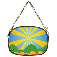 Sunlight Clouds Blue Yellow Green Orange White Sky Chain Purses (one Side)  by Alisyart