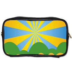 Sunlight Clouds Blue Yellow Green Orange White Sky Toiletries Bags 2 Side by Alisyart