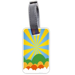 Sunlight Clouds Blue Yellow Green Orange White Sky Luggage Tags (one Side)