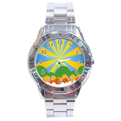Sunlight Clouds Blue Yellow Green Orange White Sky Stainless Steel Analogue Watch by Alisyart