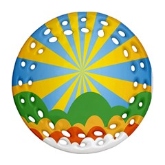 Sunlight Clouds Blue Yellow Green Orange White Sky Round Filigree Ornament (two Sides)