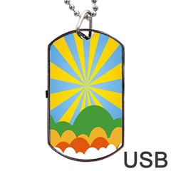 Sunlight Clouds Blue Yellow Green Orange White Sky Dog Tag Usb Flash (two Sides)