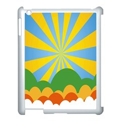 Sunlight Clouds Blue Yellow Green Orange White Sky Apple Ipad 3/4 Case (white)
