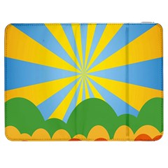 Sunlight Clouds Blue Yellow Green Orange White Sky Samsung Galaxy Tab 7  P1000 Flip Case