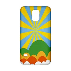 Sunlight Clouds Blue Yellow Green Orange White Sky Samsung Galaxy S5 Hardshell Case  by Alisyart