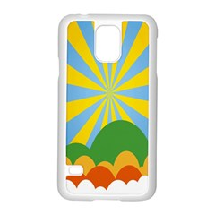 Sunlight Clouds Blue Yellow Green Orange White Sky Samsung Galaxy S5 Case (white)