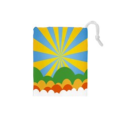 Sunlight Clouds Blue Yellow Green Orange White Sky Drawstring Pouches (small)