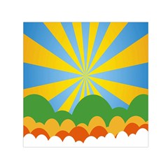 Sunlight Clouds Blue Yellow Green Orange White Sky Small Satin Scarf (square)
