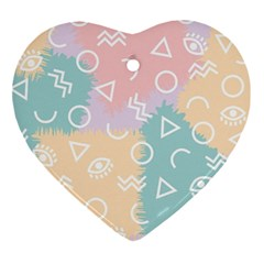 Triangle Circle Wave Eye Rainbow Orange Pink Blue Sign Ornament (heart)