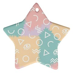 Triangle Circle Wave Eye Rainbow Orange Pink Blue Sign Ornament (star)