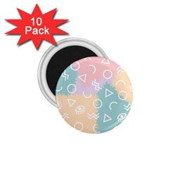 Triangle Circle Wave Eye Rainbow Orange Pink Blue Sign 1 75  Magnets (10 Pack)