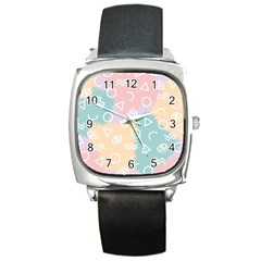 Triangle Circle Wave Eye Rainbow Orange Pink Blue Sign Square Metal Watch