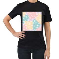 Triangle Circle Wave Eye Rainbow Orange Pink Blue Sign Women s T Shirt (black) (two Sided) by Alisyart
