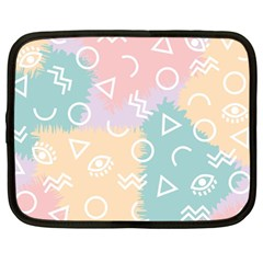 Triangle Circle Wave Eye Rainbow Orange Pink Blue Sign Netbook Case (large) by Alisyart
