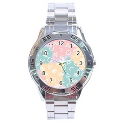 Triangle Circle Wave Eye Rainbow Orange Pink Blue Sign Stainless Steel Analogue Watch
