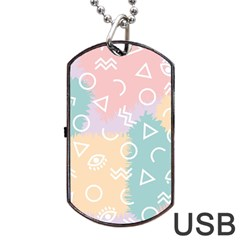Triangle Circle Wave Eye Rainbow Orange Pink Blue Sign Dog Tag Usb Flash (two Sides) by Alisyart