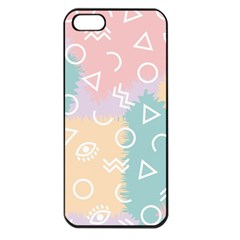 Triangle Circle Wave Eye Rainbow Orange Pink Blue Sign Apple Iphone 5 Seamless Case (black)