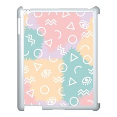 Triangle Circle Wave Eye Rainbow Orange Pink Blue Sign Apple Ipad 3/4 Case (white)