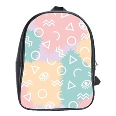 Triangle Circle Wave Eye Rainbow Orange Pink Blue Sign School Bags (xl)
