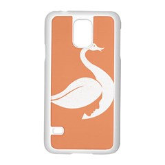 Swan Girl Face Hair Face Orange White Samsung Galaxy S5 Case (white)