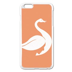 Swan Girl Face Hair Face Orange White Apple Iphone 6 Plus/6s Plus Enamel White Case