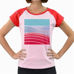 Wave Waves Blue Red Women s Cap Sleeve T Shirt
