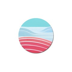 Wave Waves Blue Red Golf Ball Marker