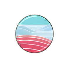 Wave Waves Blue Red Hat Clip Ball Marker (4 Pack)