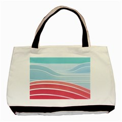 Wave Waves Blue Red Basic Tote Bag by Alisyart