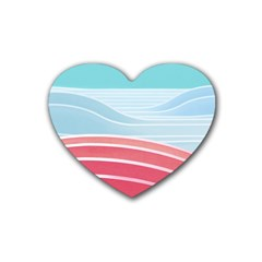 Wave Waves Blue Red Rubber Coaster (heart)