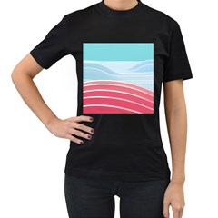 Wave Waves Blue Red Women s T Shirt (black)