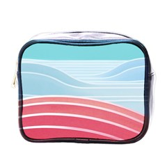 Wave Waves Blue Red Mini Toiletries Bags