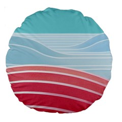 Wave Waves Blue Red Large 18  Premium Round Cushions