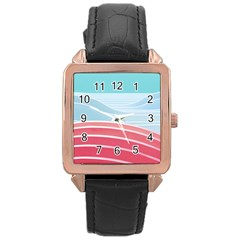 Wave Waves Blue Red Rose Gold Leather Watch