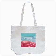 Wave Waves Blue Red Tote Bag (white)