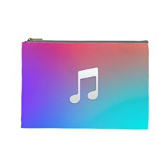 Tunes Sign Orange Purple Blue White Music Notes Cosmetic Bag (large)
