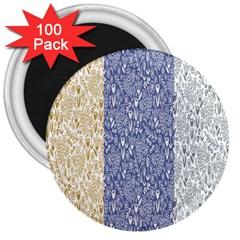 Flower Floral Grey Blue Gold Tulip 3  Magnets (100 Pack)