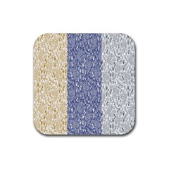 Flower Floral Grey Blue Gold Tulip Rubber Square Coaster (4 Pack)