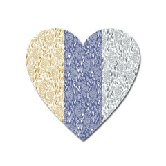 Flower Floral Grey Blue Gold Tulip Heart Magnet by Alisyart