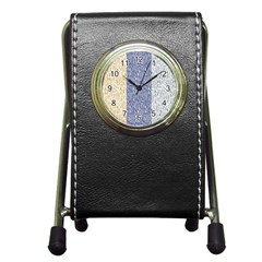 Flower Floral Grey Blue Gold Tulip Pen Holder Desk Clocks