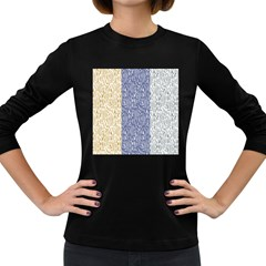 Flower Floral Grey Blue Gold Tulip Women s Long Sleeve Dark T Shirts
