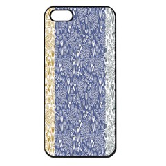Flower Floral Grey Blue Gold Tulip Apple Iphone 5 Seamless Case (black)