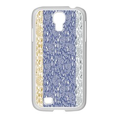 Flower Floral Grey Blue Gold Tulip Samsung Galaxy S4 I9500/ I9505 Case (white)