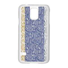 Flower Floral Grey Blue Gold Tulip Samsung Galaxy S5 Case (white)